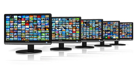 Row of LCD displays with picture galleries *** ALL USED PHOTOS ARE MYO WN Stock Photo - 9832429