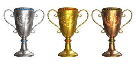 sports trophy: Set of gold, silver and bronze trophy cups isolated on white background