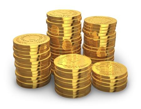 金: 白い背景で隔離の黄金のコインのスタック 写真素材
