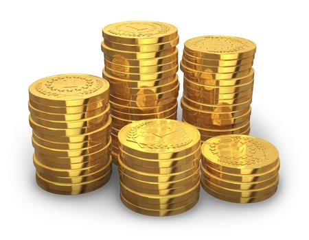 Gold coin: Stacks of golden coins isolated on white background