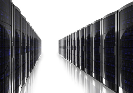 Server room inter isolated on white reflective background Stock Photo - 9832566