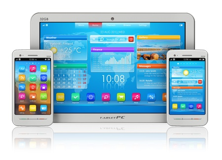 Mobility concept: white tablet PC and smartphones isolated on white reflective background photo