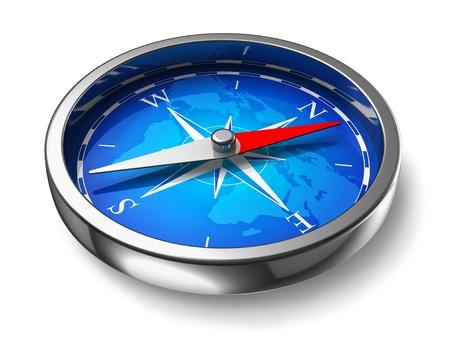rosa dei venti: Blu bussola metallo isolato su sfondo bianco