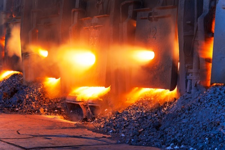 works: Very rare close view of working open hearth furnace at the metallurgical plant Stock Photo