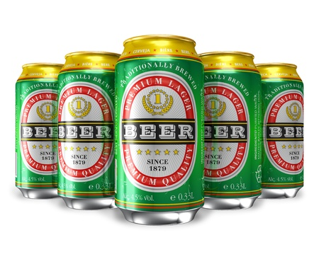 bottled beer: Set of beer cans isolated on white background