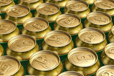 Macro view of metal drink cans with beer photo