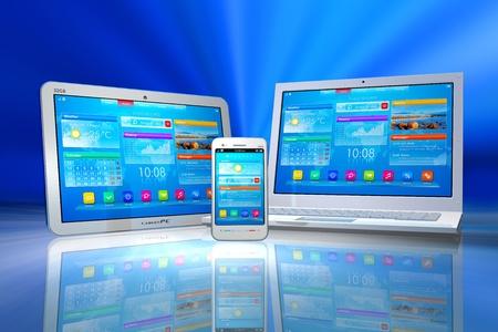 Weiß Tablet-PC, Smartphone und Laptop auf blauem abstrakten reflektierenden Hintergrund isoliert