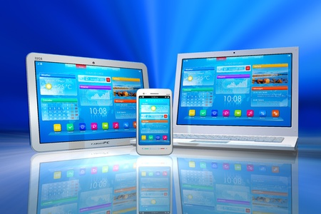 mobility: White tablet PC, smartphone and laptop isolated on blue abstract reflective background