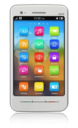 mobile headset: Pantalla t�ctil blanco smartphone aislada sobre fondo blanco reflectante Foto de archivo