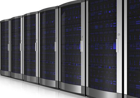 mainframe: Server room interior isolated on white reflective background