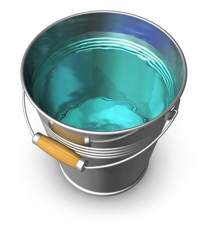 bucket water: Metal cubo lleno de agua clara aislada sobre fondo blanco