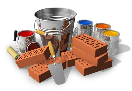 bricklayer: Constructionhome renovation concept: metal bucket, red bricks, trowel and set of color paints isolated on white background