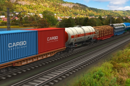 Scenery of the freight train passing by mountain range *** ALL TEXT LABELS ARE MY OWN AND FULLY ABSTRACT photo