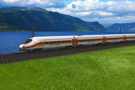 train tracks: Scenery of modern high speed train passing by the mountains and flords in Norway *** DESIGN OF THIS TRAIN IS MY OWN AND ALL TEXT LABELS ARE FULLY ABSTRACT Stock Photo