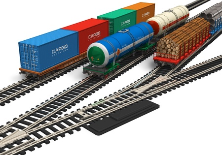 rails: Miniature railroad models isolated on white background *** DESIGN OF ALL RAILROAD CARS IS MY OWN