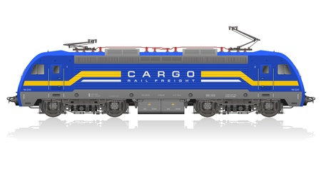 freight train: High detailed photo realistic model of blue electric locomotive isolated on white reflective background Illustration