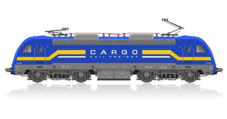 szynach: Wysokie szczegółowe zdjęcia realistyczny model niebieskiej lokomotywy elektrycznej na białym tle refleksyjnej Ilustracja