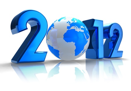 Creative 2012 New Year concept with blue Earth globe isolated on white reflective background