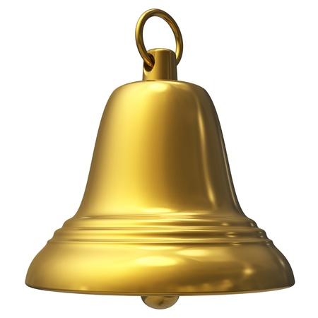 campanas navidad: Campana de Navidad oro aislada sobre fondo blanco Foto de archivo