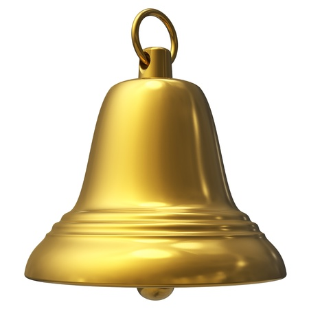 church 3d: Golden Christmas bell isolated on white background
