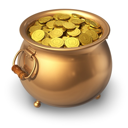 kettles: Bote lleno de monedas de oro aisladas sobre fondo blanco