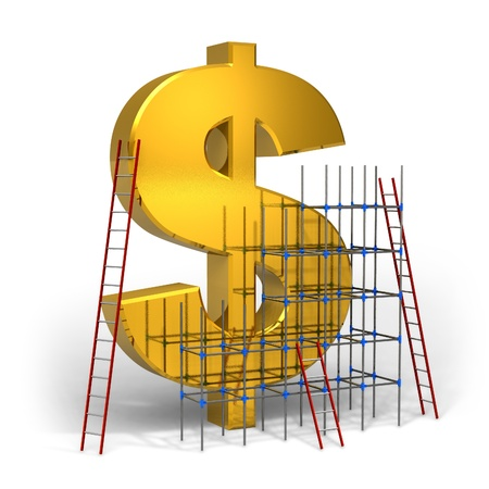 Making money concept: golden dollar sign with scaffold and ladders photo