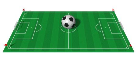 cancha deportiva futbol: Concepto de Campeonato de fútbol: campo de fútbol con balón de fútbol grande aislada sobre fondo blanco Foto de archivo