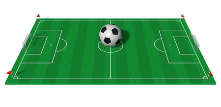 soccer fields: Football championship concept: football field with big soccer ball isolated on white background