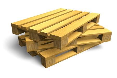 palet: Pila de paletas de madera env�o aisladas sobre fondo blanco Foto de archivo