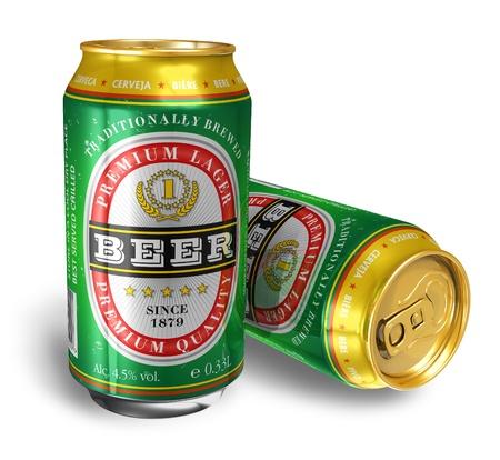 vasos de cerveza: Aisladas sobre fondo blanco de latas de cerveza *** dise�o de estas latas es mi propia y todos texto etiquetas son totalmente abstracto Foto de archivo