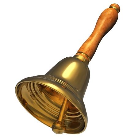 campanas: Oro handbell de Navidad aislada sobre fondo blanco