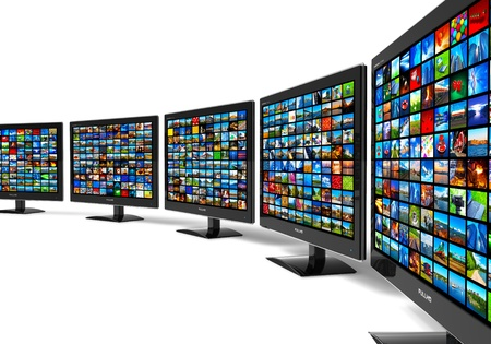 Row of widescreen HD displays wtih multiple images isolated on white background Stock Photo