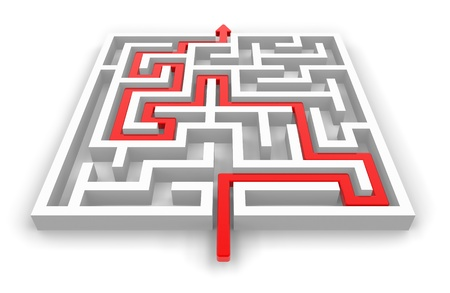 Rode pad over witte labyrint geïsoleerd op witte achtergrond