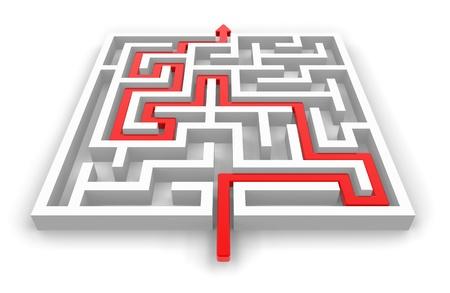 psicologia: Sendero rojo en blanco laberinto aislado en fondo blanco