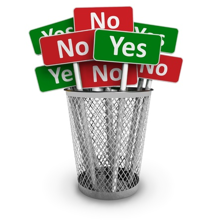 encuestando: Concepto de voto: grupo de sí y sin signos de metal Oficina bin aislada sobre fondo blanco