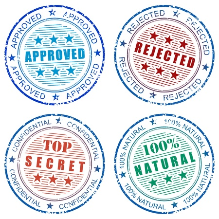 approved stamp: Set of grunge vector stamp prints: Approved, Rejected, Natural and Top secret