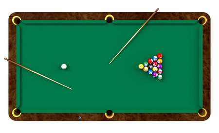 billiards tables: Billiard table with balls and cues isolated on white background