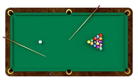 Einsatzzeichen: Billiard Tisch mit Kugeln und Queues auf wei�em Hintergrund Lizenzfreie Bilder