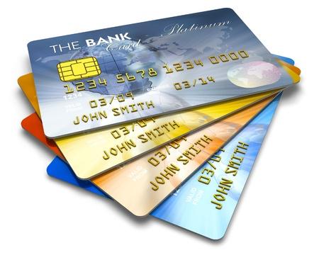 carta credito: Set di carte di credito colore isolato su sfondo bianco Archivio Fotografico