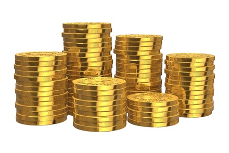 Stacks of golden coins isolated on white background photo