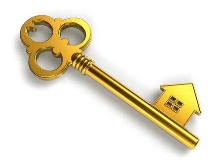 housing estates: Concetto immobiliare: casa d'oro a forma di chiave isolato su sfondo bianco