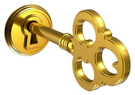 Gouden sleutel in het sleutelgat op een witte achtergrond