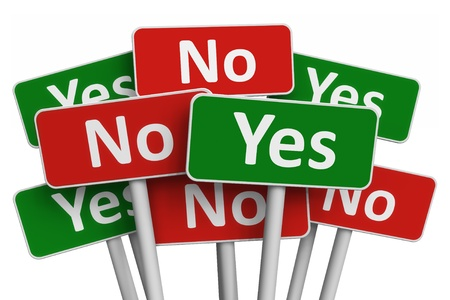 Voting concept: group of Yes and No signs isolated on white background photo