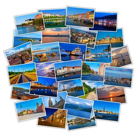 흰색 배경에 고립 된 다채로운 유럽 여행 사진 세트