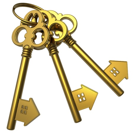 Real estate concept: bunch of golden house-shape keys isolated on white background photo