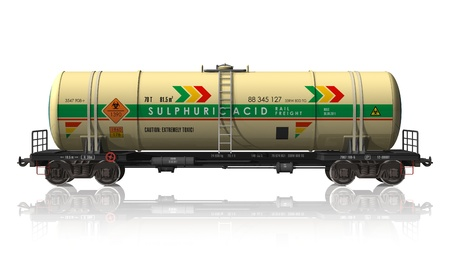 car manufacturing: Chemical tanker railroad car isolated on white reflective background
