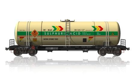 cisterna: Coche de ferrocarril de cisterna para productos químicos aislada sobre fondo blanco reflectante