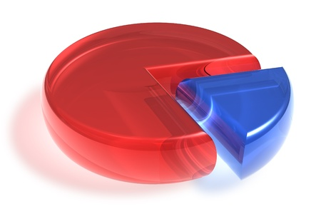 Red and blue crystal pie chart isolated on white background photo