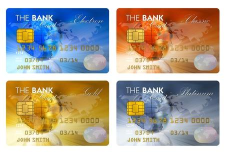 tarjeta visa: Conjunto de tarjetas de crédito de color aisladas sobre fondo blanco  Foto de archivo