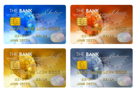 e cash: Set of color credit cards isolated on white background  Stock Photo
